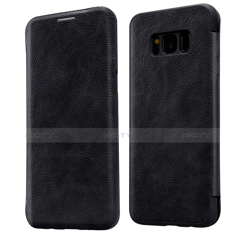 Schutzhülle Stand Tasche Leder L01 für Samsung Galaxy S8 Schwarz Plus