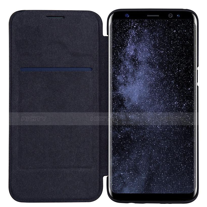 Schutzhülle Stand Tasche Leder L01 für Samsung Galaxy S8 Schwarz groß