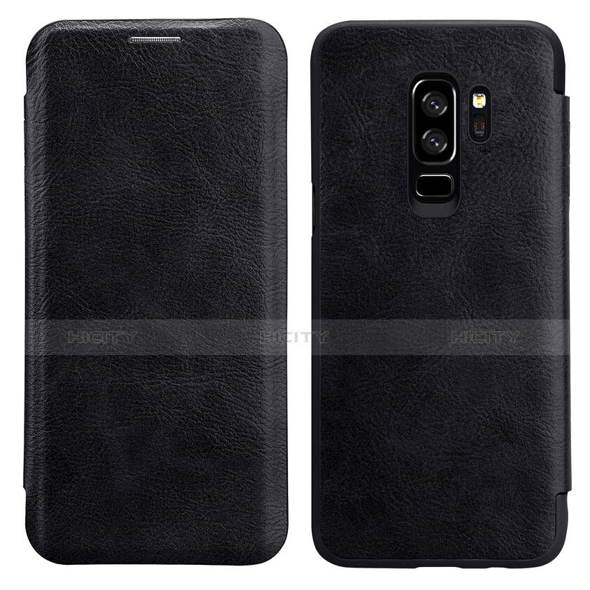 Schutzhülle Stand Tasche Leder L01 für Samsung Galaxy S9 Plus Schwarz
