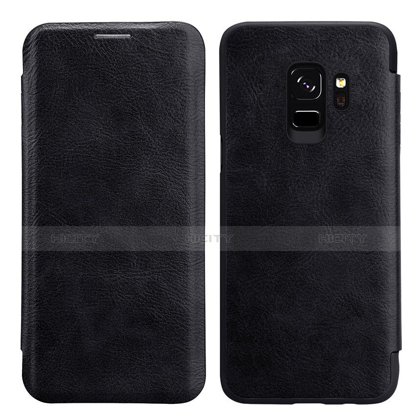 Schutzhülle Stand Tasche Leder L01 für Samsung Galaxy S9 Schwarz Plus