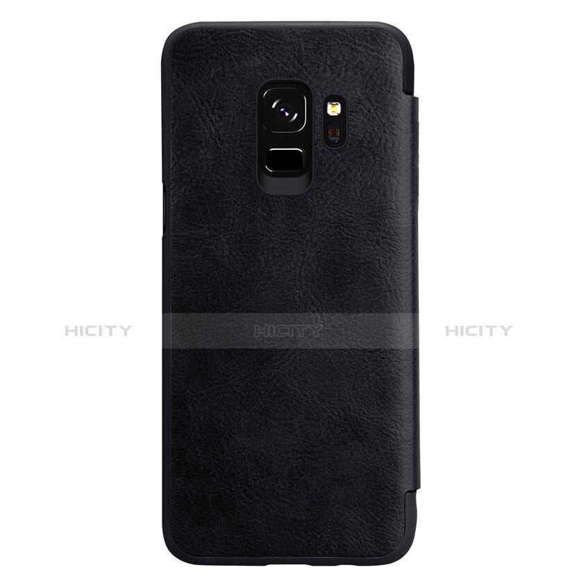 Schutzhülle Stand Tasche Leder L01 für Samsung Galaxy S9 Schwarz groß