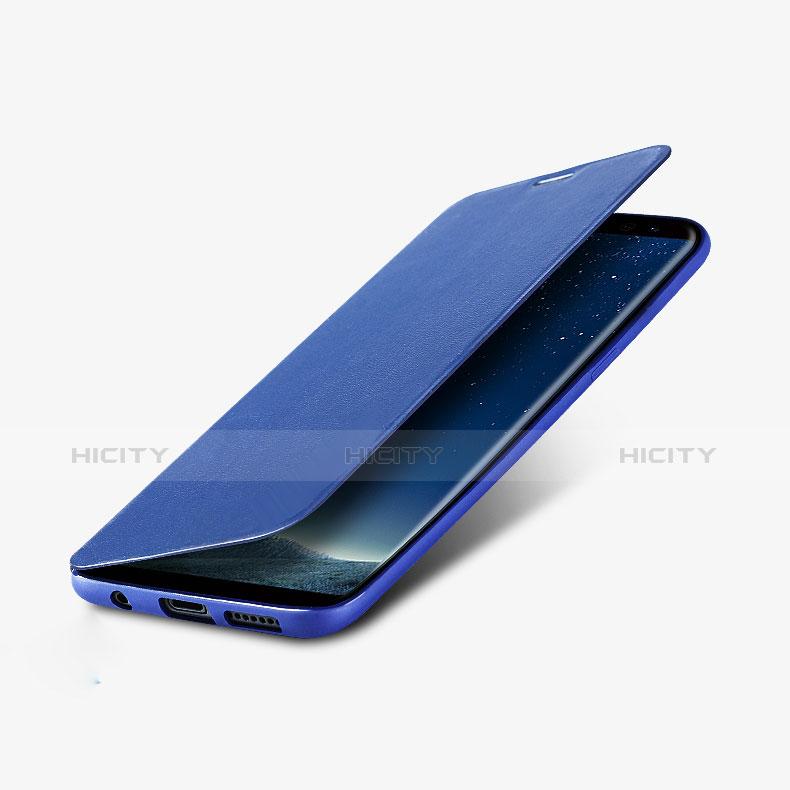 Schutzhülle Stand Tasche Leder L02 für Samsung Galaxy S8 Plus Blau Plus