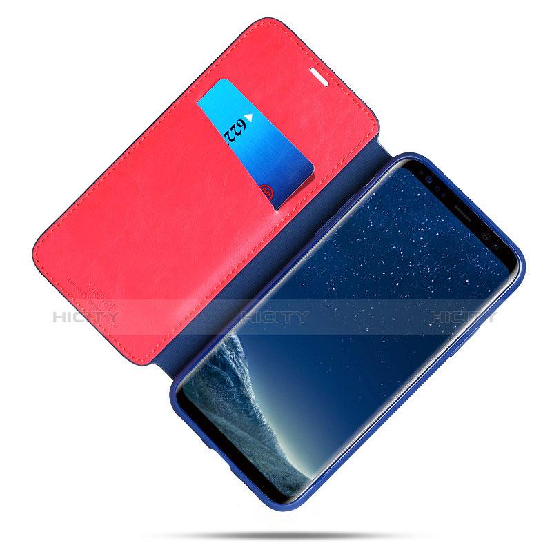 Schutzhülle Stand Tasche Leder L02 für Samsung Galaxy S8 Plus Blau groß