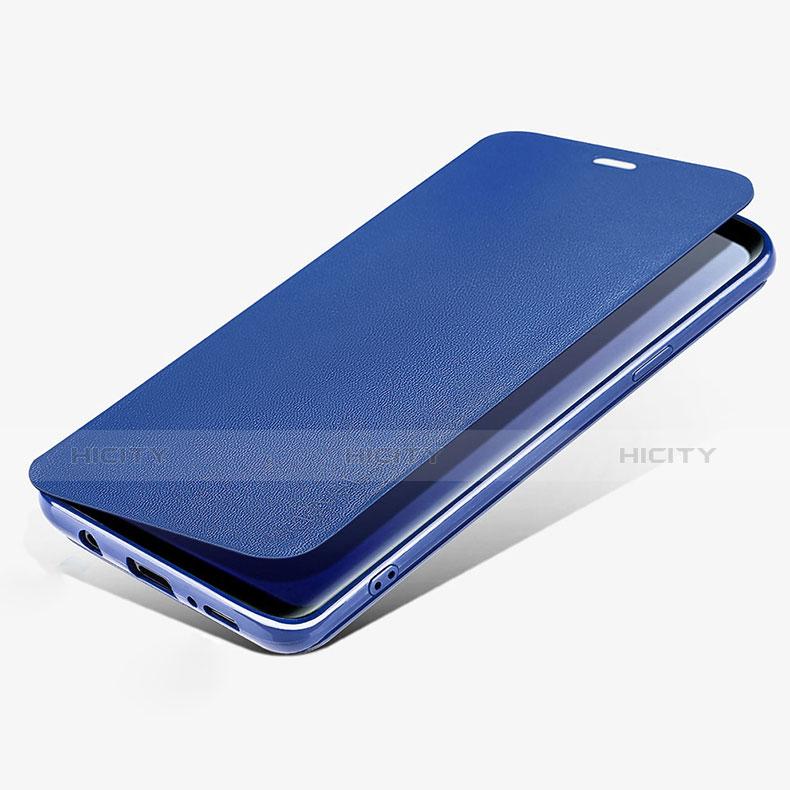 Schutzhülle Stand Tasche Leder L02 für Samsung Galaxy S9 Blau Plus