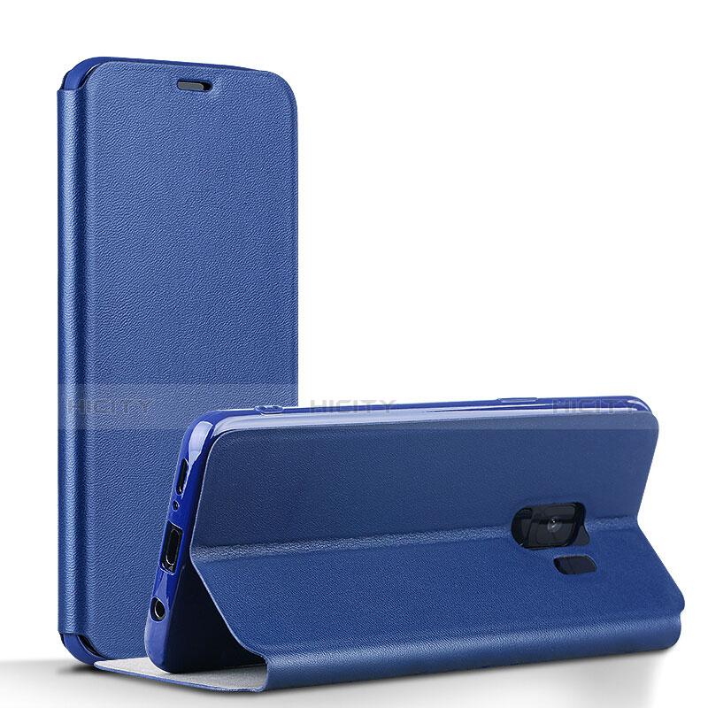 Schutzhülle Stand Tasche Leder L02 für Samsung Galaxy S9 Blau groß