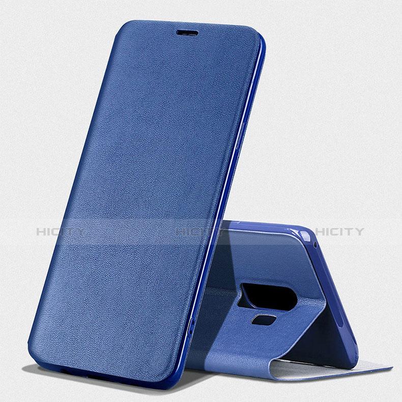 Schutzhülle Stand Tasche Leder L02 für Samsung Galaxy S9 Plus Blau groß