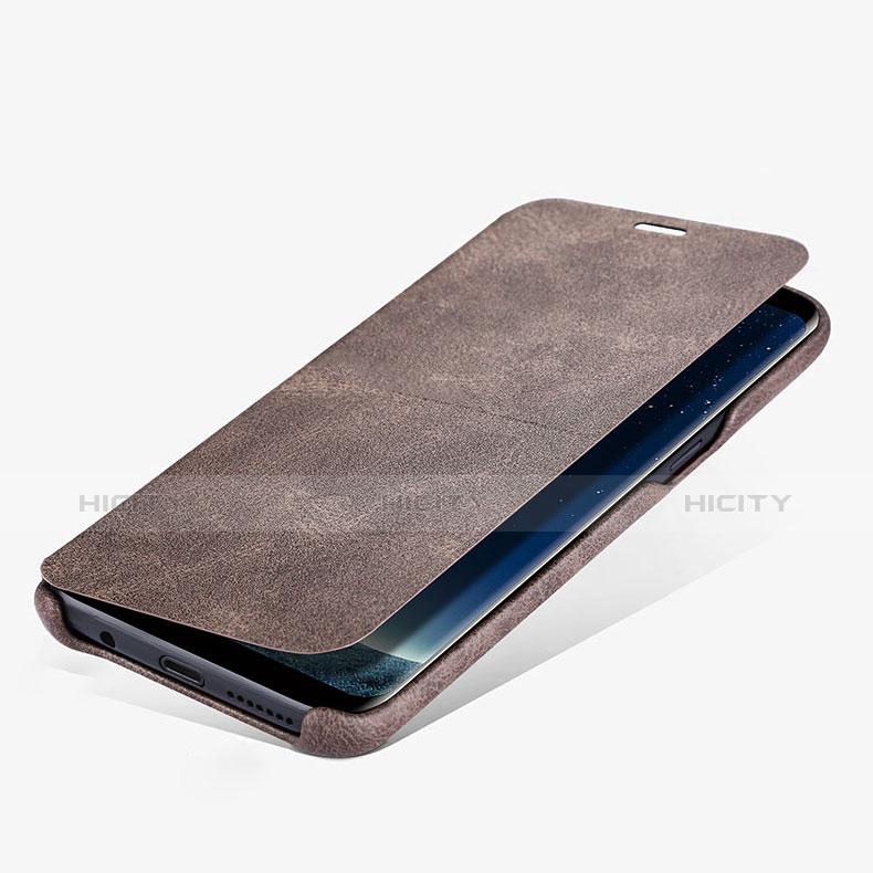 Schutzhülle Stand Tasche Leder L03 für Samsung Galaxy S8 Braun Plus
