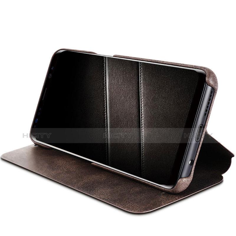Schutzhülle Stand Tasche Leder L03 für Samsung Galaxy S8 Braun groß