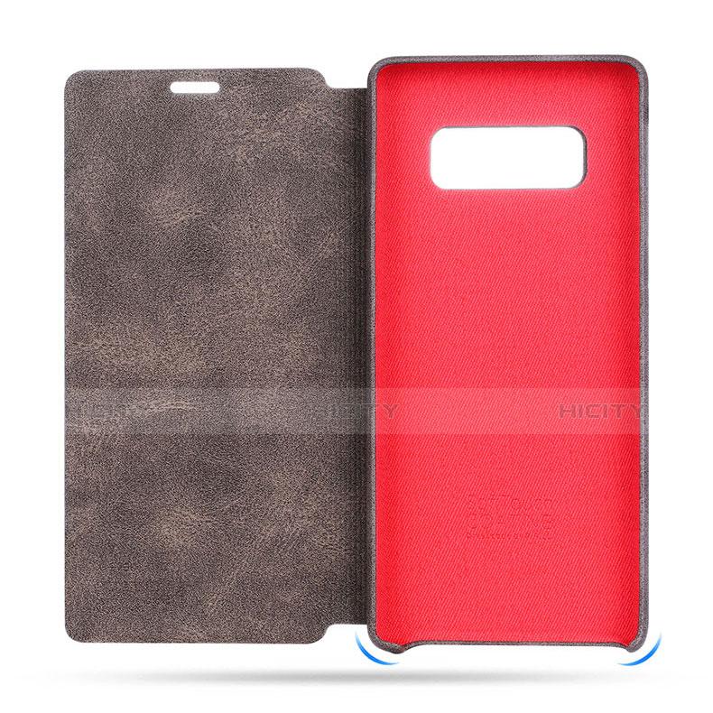 Schutzhülle Stand Tasche Leder L03 für Samsung Galaxy S8 Plus Braun groß