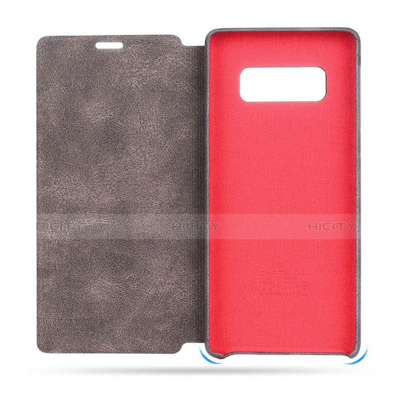 Schutzhülle Stand Tasche Leder L04 für Samsung Galaxy Note 8 Braun groß