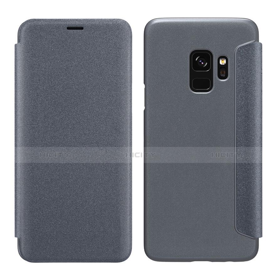 Schutzhülle Stand Tasche Leder S01 für Samsung Galaxy S9 Schwarz Plus