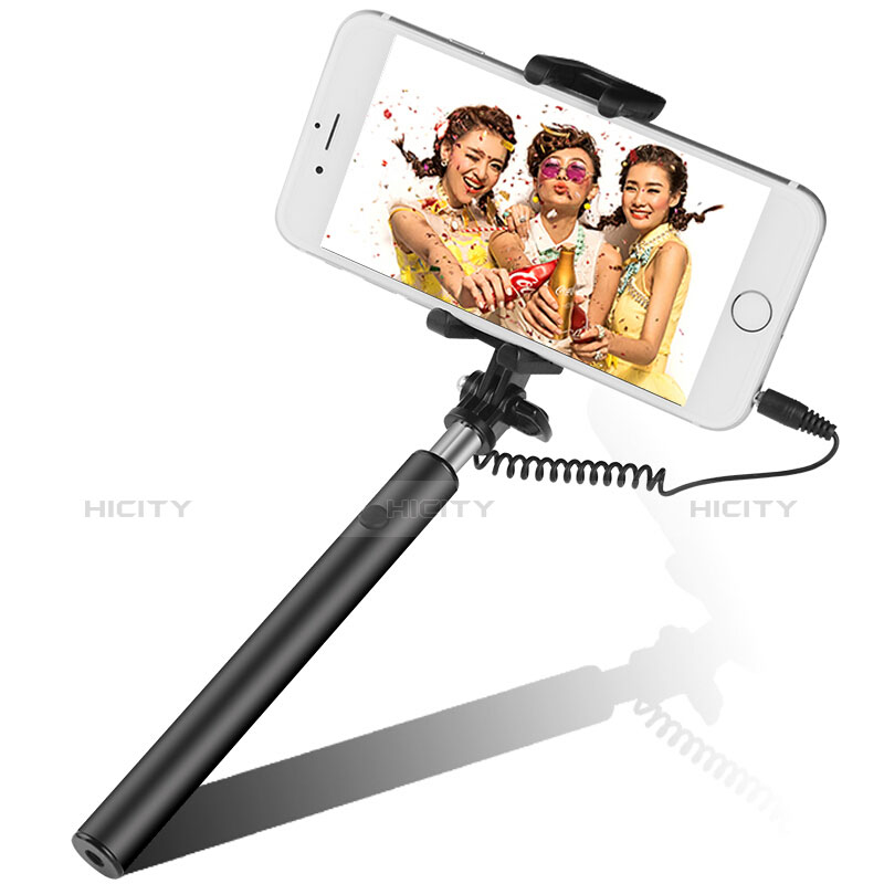 Selfie Stick Stange Verdrahtet Teleskop Universal S06 Schwarz Plus