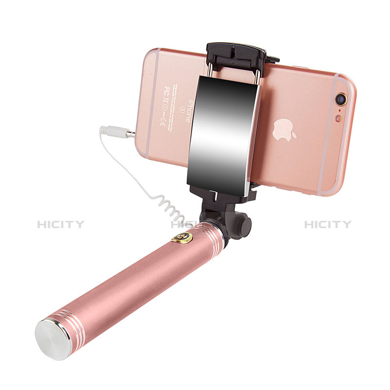 Selfie Stick Stange Verdrahtet Teleskop Universal S22 Rosegold groß