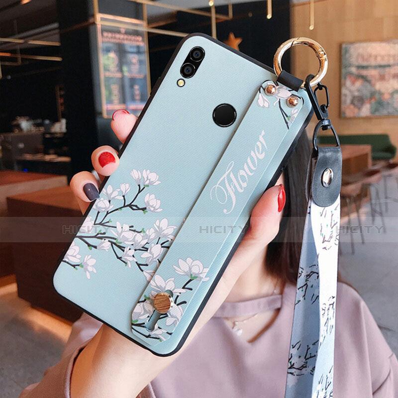 Silikon Hülle Handyhülle Gummi Schutzhülle Blumen für Huawei Honor 8X Cyan Plus