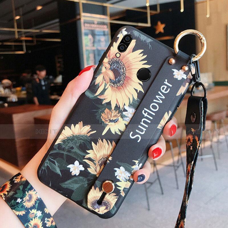 Silikon Hülle Handyhülle Gummi Schutzhülle Blumen für Huawei Honor 8X Schwarz Plus
