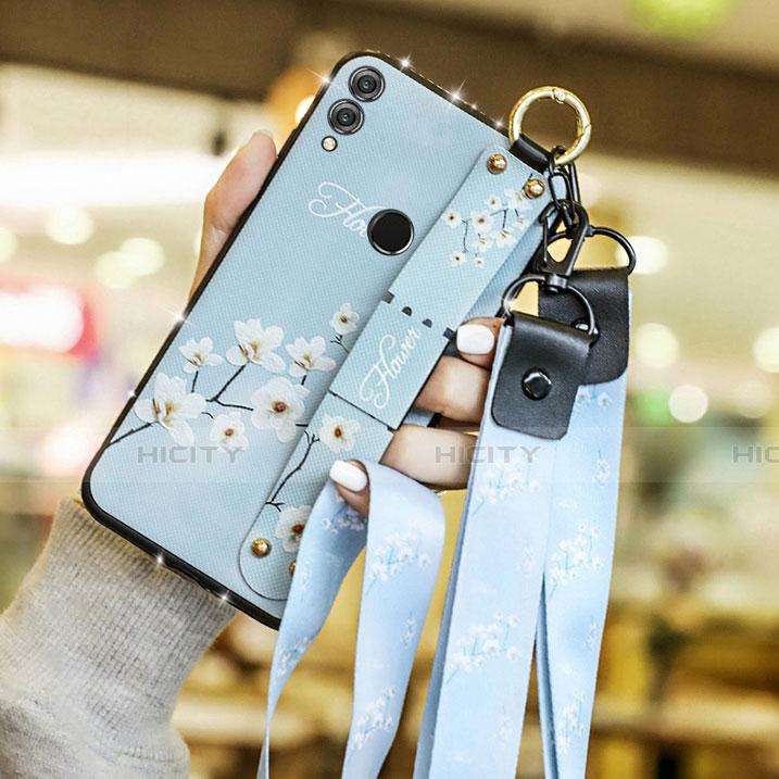 Silikon Hülle Handyhülle Gummi Schutzhülle Blumen S01 für Huawei Honor 8X Hellblau groß