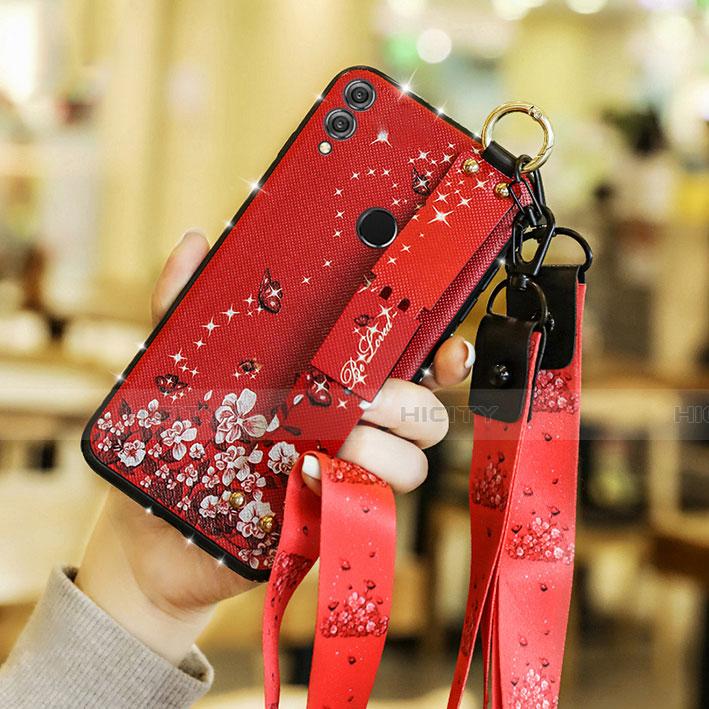 Silikon Hülle Handyhülle Gummi Schutzhülle Blumen S01 für Huawei Honor 8X Rot Plus