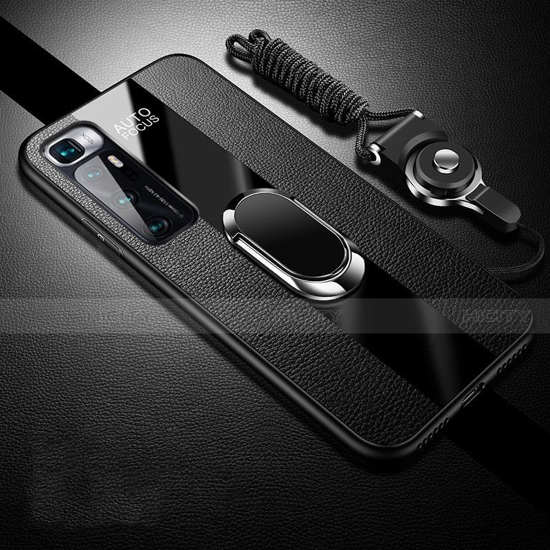 Silikon Hülle Handyhülle Gummi Schutzhülle Flexible Leder Tasche mit Magnetisch Fingerring Ständer für Xiaomi Mi 10 Ultra Schwarz Plus