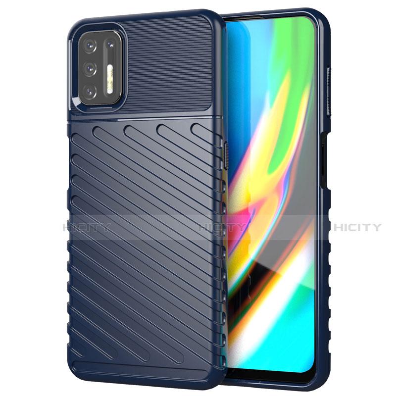 Silikon Hülle Handyhülle Gummi Schutzhülle Flexible Tasche Line für Motorola Moto G9 Plus Blau Plus