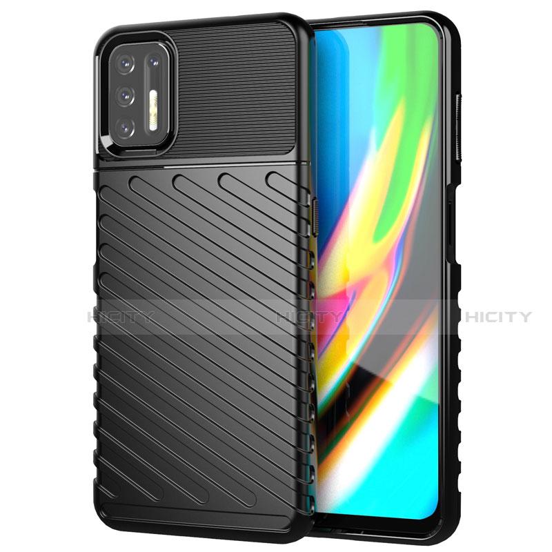 Silikon Hülle Handyhülle Gummi Schutzhülle Flexible Tasche Line für Motorola Moto G9 Plus Schwarz Plus