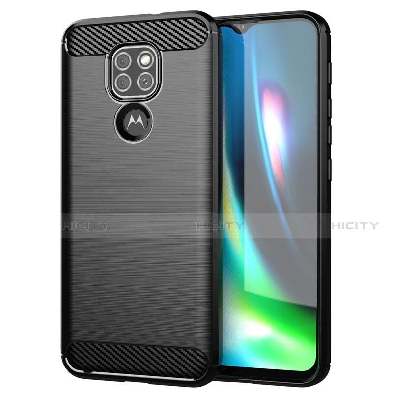 Silikon Hülle Handyhülle Gummi Schutzhülle Flexible Tasche Line S01 für Motorola Moto G9 Play Schwarz Plus