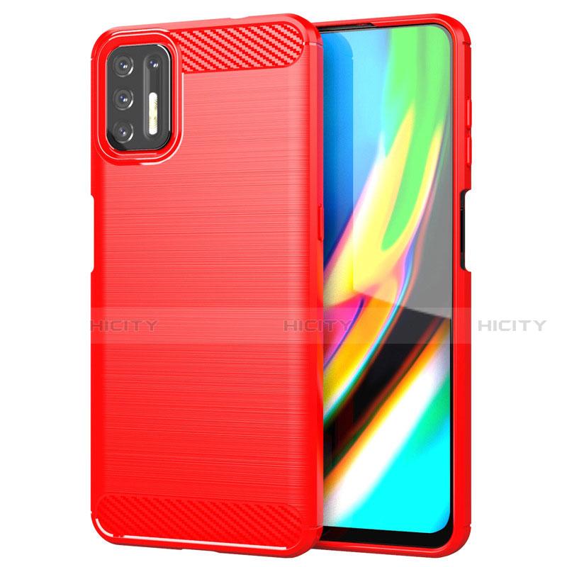 Silikon Hülle Handyhülle Gummi Schutzhülle Flexible Tasche Line S01 für Motorola Moto G9 Plus Rot Plus