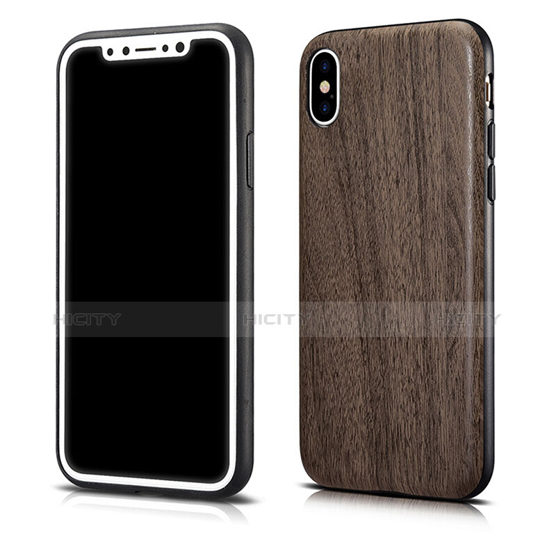 Silikon Hülle Handyhülle Gummi Schutzhülle Holzmaserung Muster für Apple iPhone Xs Max Grau Plus