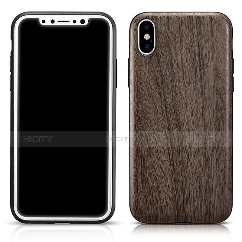 Silikon Hülle Handyhülle Gummi Schutzhülle Holzmaserung Muster für Apple iPhone Xs Max Grau groß