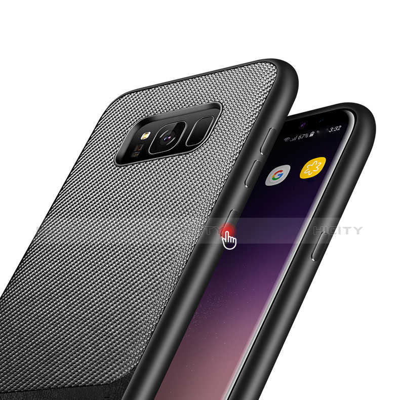Silikon Hülle Handyhülle Gummi Schutzhülle Köper B03 für Samsung Galaxy S8 Plus Schwarz groß