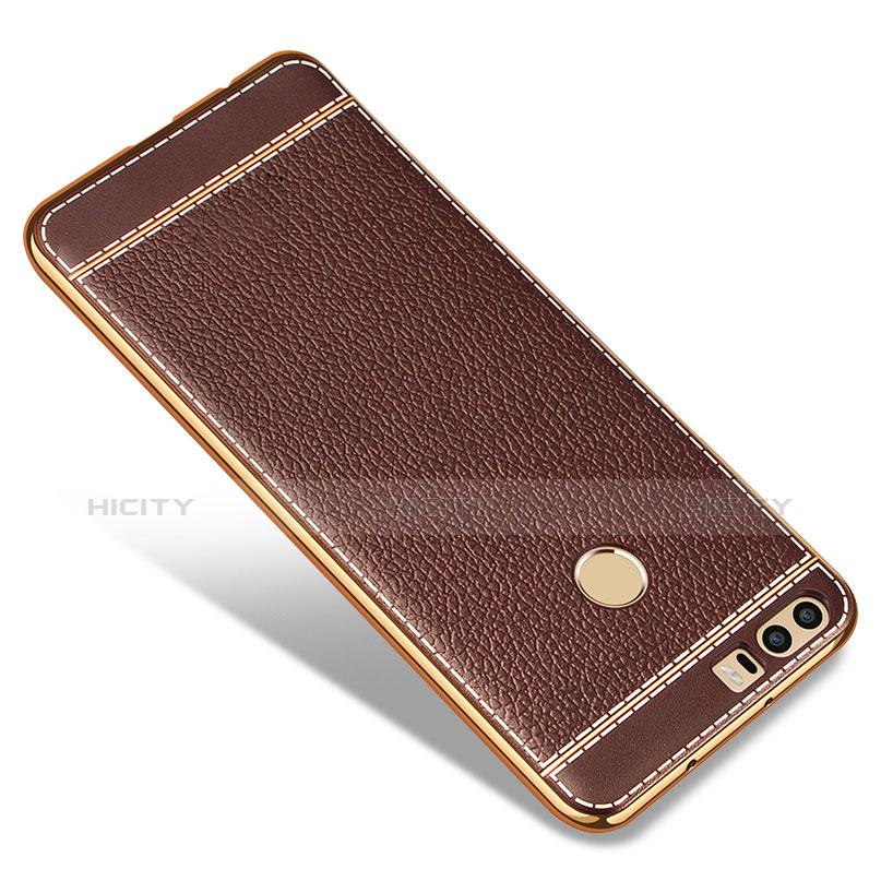 Silikon Hülle Handyhülle Gummi Schutzhülle Leder für Huawei Honor 8 Braun Plus