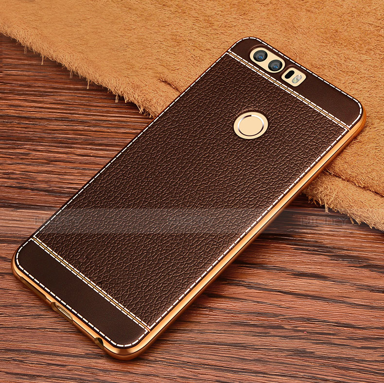 Silikon Hülle Handyhülle Gummi Schutzhülle Leder für Huawei Honor 8 Braun groß