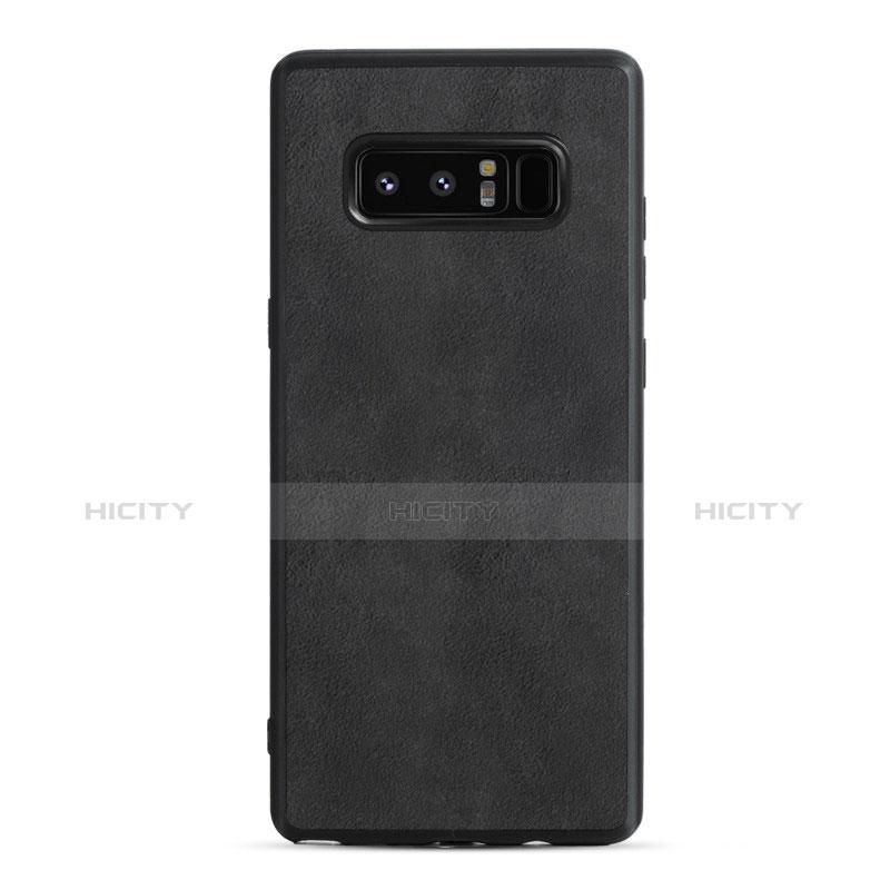 Silikon Hülle Handyhülle Gummi Schutzhülle Leder Q01 für Samsung Galaxy Note 8 Schwarz Plus