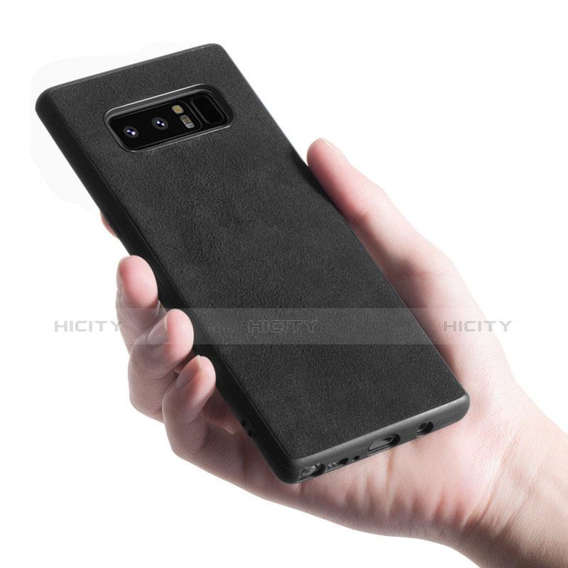 Silikon Hülle Handyhülle Gummi Schutzhülle Leder Q01 für Samsung Galaxy Note 8 Schwarz groß