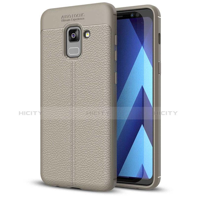 Silikon Hülle Handyhülle Gummi Schutzhülle Leder Tasche für Samsung Galaxy A5 (2018) A530F Grau Plus