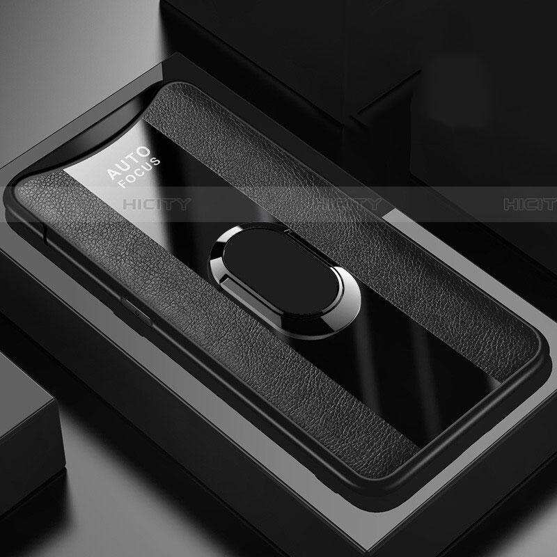 Silikon Hülle Handyhülle Gummi Schutzhülle Leder Tasche mit Magnetisch Fingerring Ständer T01 für Oppo Find X Schwarz Plus