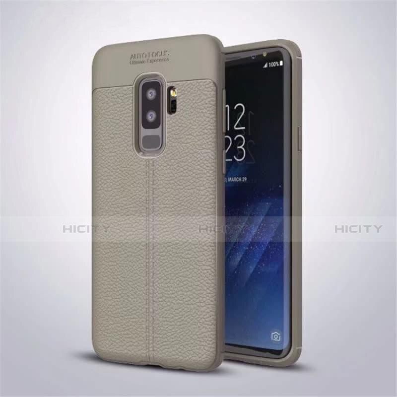 Silikon Hülle Handyhülle Gummi Schutzhülle Leder Tasche S01 für Samsung Galaxy S9 Plus Grau Plus