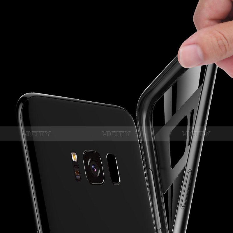 Silikon Hülle Handyhülle Rahmen Schutzhülle Durchsichtig Transparent Spiegel 360 Grad R04 für Samsung Galaxy S8 Plus Schwarz groß