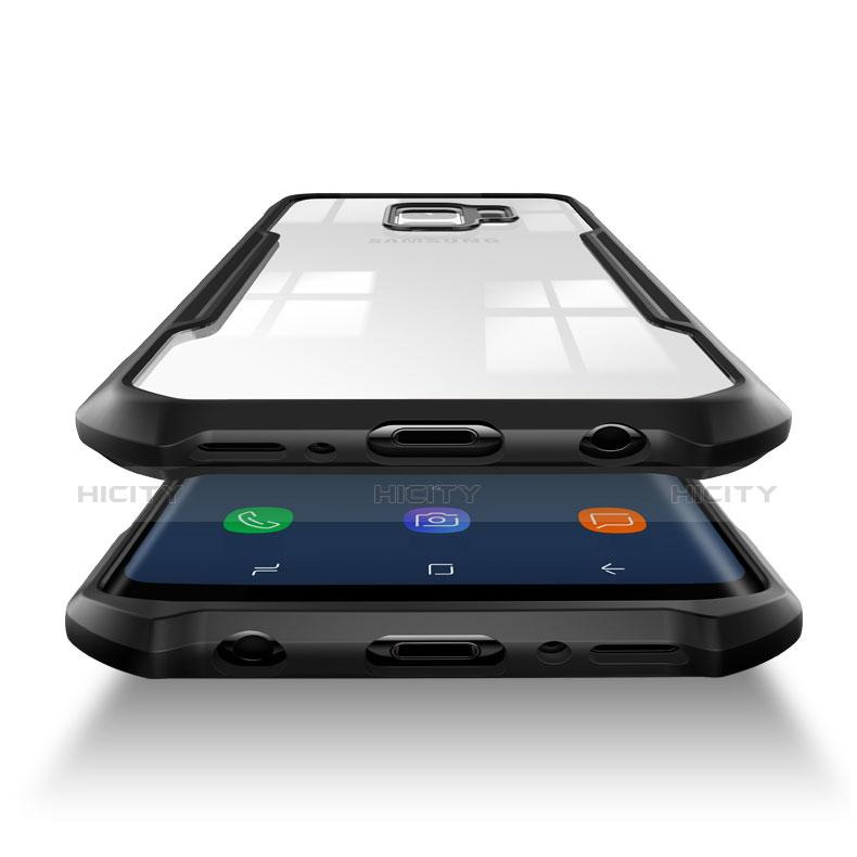 Silikon Hülle Handyhülle Rahmen Schutzhülle Durchsichtig Transparent Spiegel 360 Grad T02 für Samsung Galaxy S9 Schwarz groß