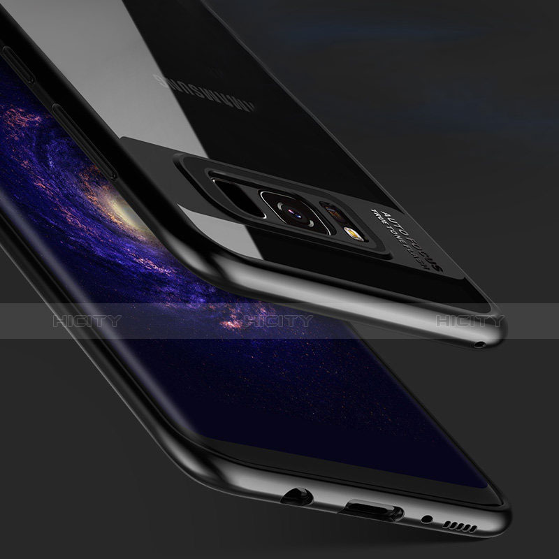 Silikon Hülle Handyhülle Rahmen Schutzhülle Durchsichtig Transparent Spiegel 360 Grad T03 für Samsung Galaxy S8 Schwarz Plus