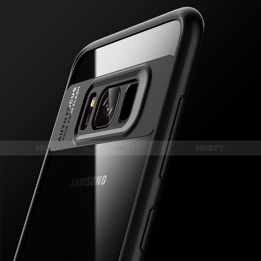 Silikon Hülle Handyhülle Rahmen Schutzhülle Durchsichtig Transparent Spiegel 360 Grad T03 für Samsung Galaxy S8 Schwarz groß