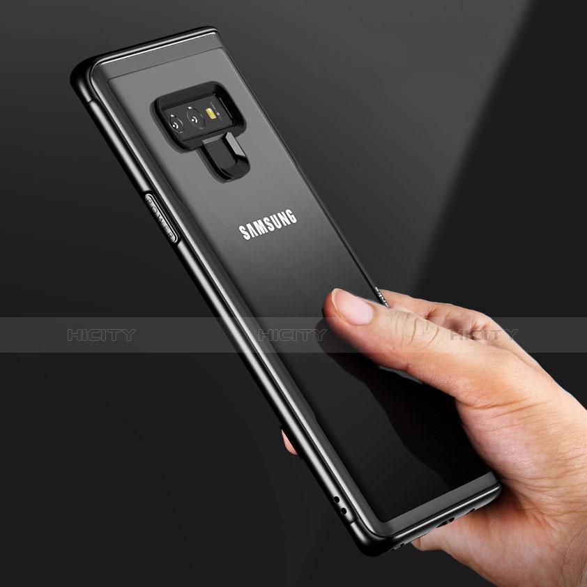 Silikon Hülle Handyhülle Rahmen Schutzhülle Durchsichtig Transparent Spiegel für Samsung Galaxy Note 9 Schwarz groß