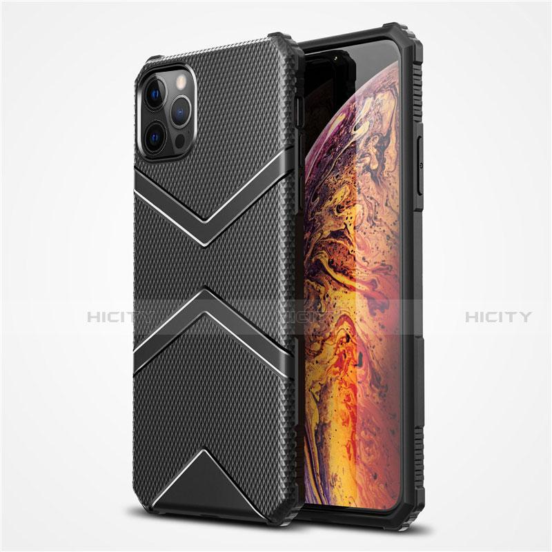 Silikon Hülle Handyhülle Ultra Dünn Flexible Schutzhülle 360 Grad Ganzkörper Tasche S02 für Apple iPhone 12 Pro Max Schwarz Plus