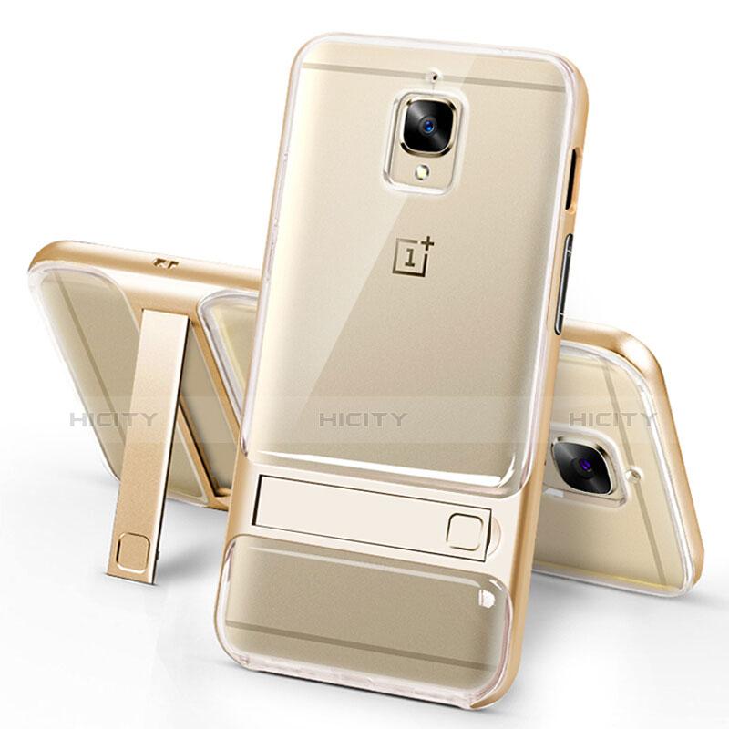 Silikon Hülle Handyhülle Ultra Dünn Schutzhülle Durchsichtig Transparent mit Ständer für OnePlus 3 Gold Plus
