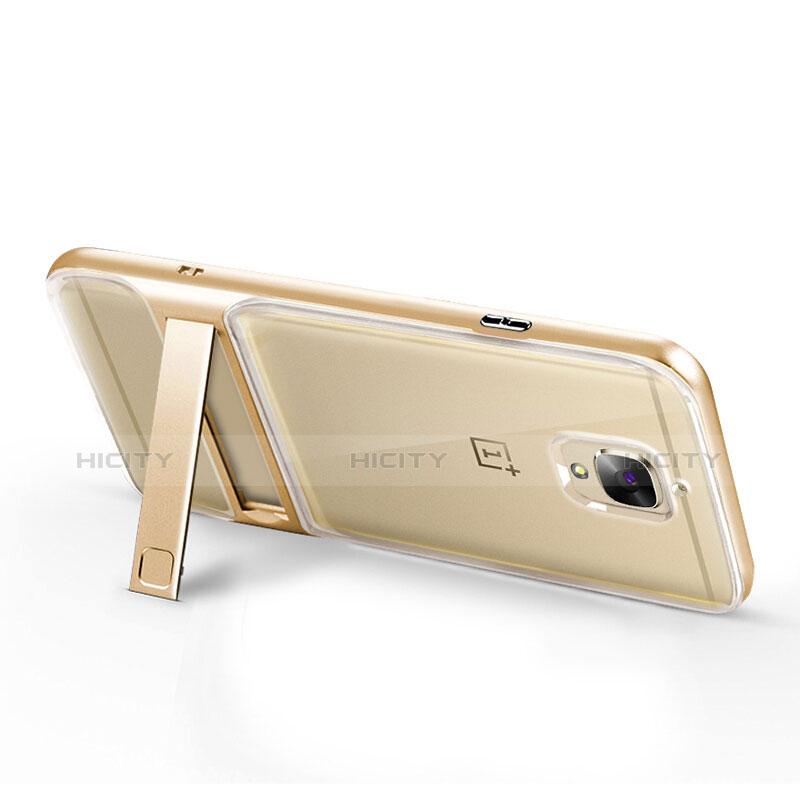 Silikon Hülle Handyhülle Ultra Dünn Schutzhülle Durchsichtig Transparent mit Ständer für OnePlus 3 Gold groß