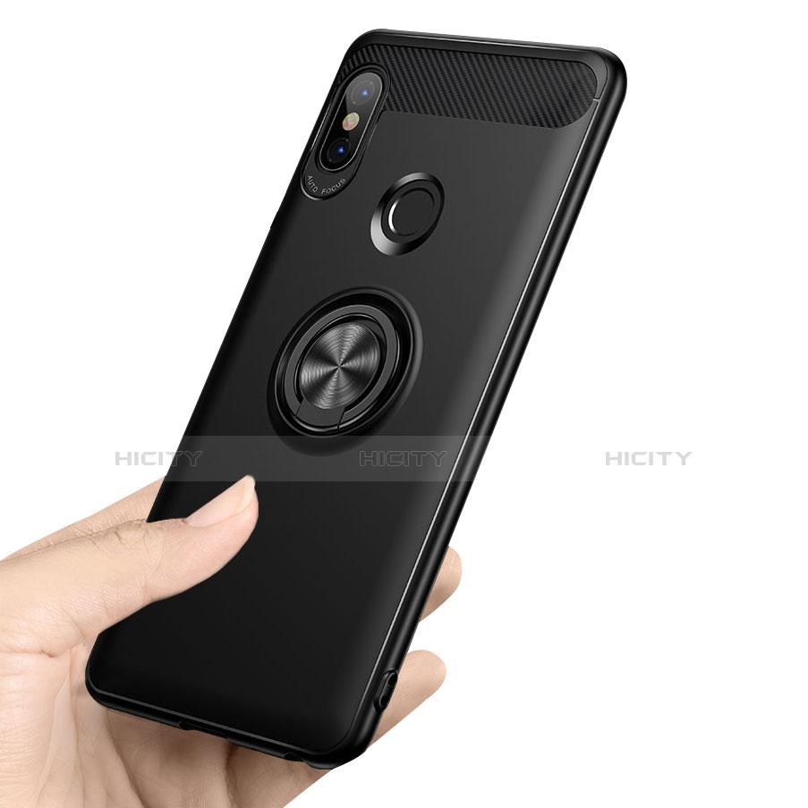Silikon Hülle Handyhülle Ultra Dünn Schutzhülle Silikon mit Fingerring Ständer A02 für Xiaomi Redmi Note 5 Pro Schwarz Plus