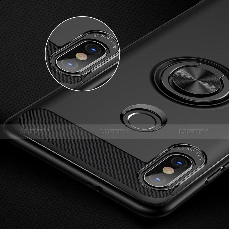 Silikon Hülle Handyhülle Ultra Dünn Schutzhülle Silikon mit Fingerring Ständer A02 für Xiaomi Redmi Note 5 Pro Schwarz groß