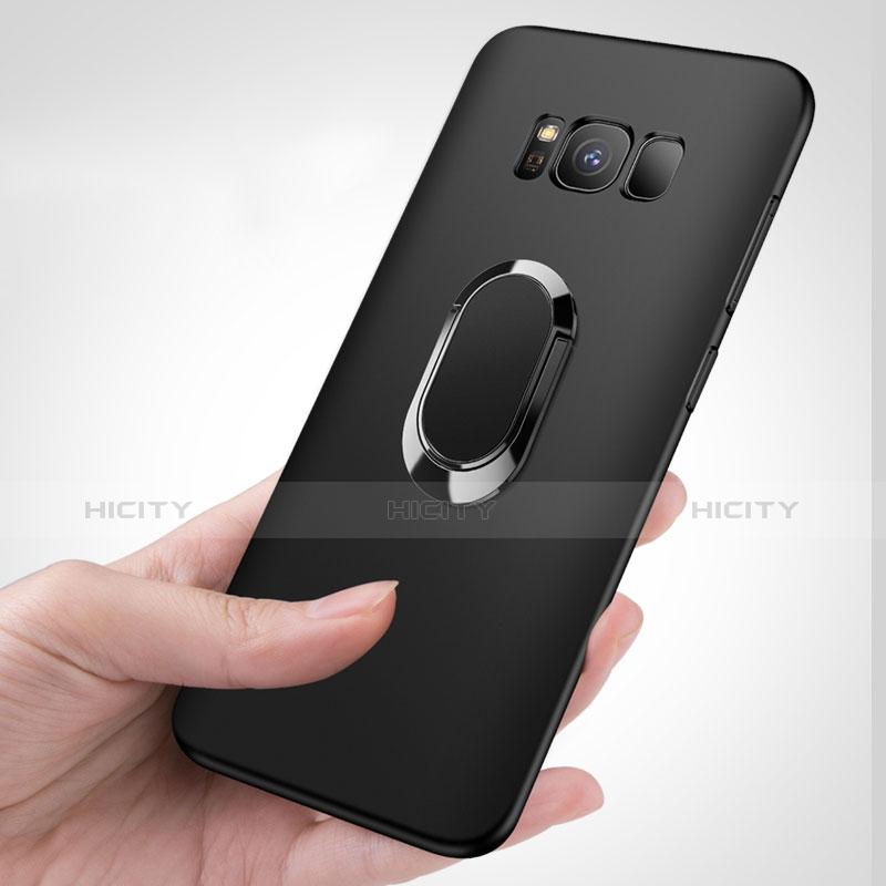 Silikon Hülle Handyhülle Ultra Dünn Schutzhülle Silikon mit Fingerring Ständer für Samsung Galaxy S8 Plus Schwarz groß