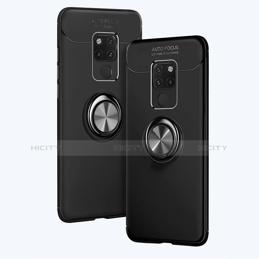 Silikon Hülle Handyhülle Ultra Dünn Schutzhülle Silikon mit Magnetisch Fingerring Ständer A02 für Huawei Mate 20 Schwarz Plus