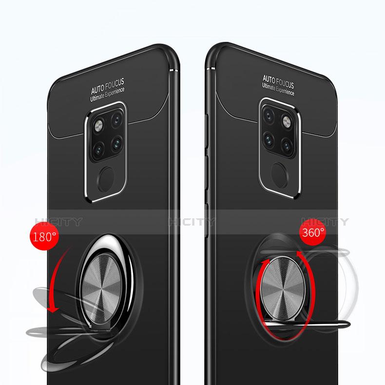 Silikon Hülle Handyhülle Ultra Dünn Schutzhülle Silikon mit Magnetisch Fingerring Ständer A02 für Huawei Mate 20 Schwarz groß