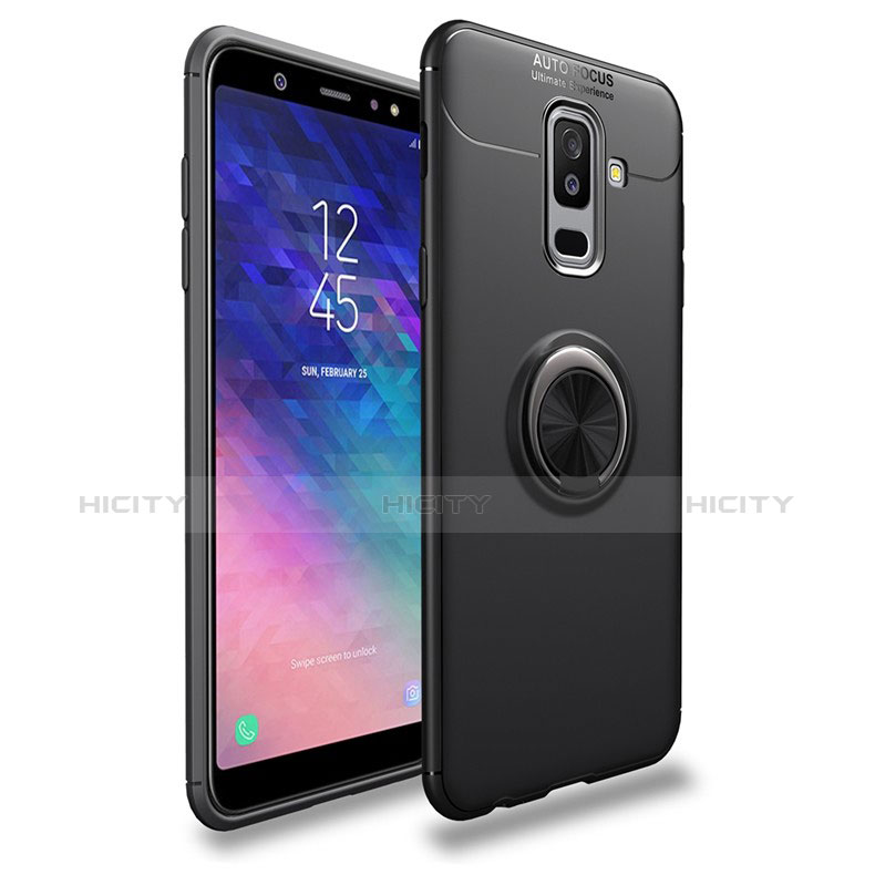 Silikon Hülle Handyhülle Ultra Dünn Schutzhülle Silikon mit Magnetisch Fingerring Ständer A03 für Samsung Galaxy A9 Star Lite Schwarz Plus